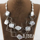 fashion costume jewelry white irregular pearl and square metal loop necklace under $ 40
