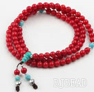 Red Coral Prayer Bracelet with 925 Sterling Silver Accessories ( Total 108 Beads ,can also be necklace)