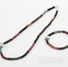 Natural Tourmaline Beaded Set with 925 Sterling Silver Accessories ( Necklace and Matched Bracelet)