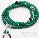 Green Agate Prayer Bracelet with Black Agate and 925 Sterling Silver Accessories ( Total 108 Beads, can also be necklace )