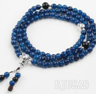 Faceted Blue Agate Prayer Bracelet with 925 Sterling Silver Accessories ( Total 108 Beads, can also be necklace )