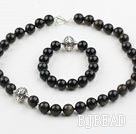 12mm Round Natural Obsidian Set with Sterling Silver Accessory( Necklace and Matched Bracelet )