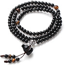 Obsidian Paryer Bracelet with Tiger Eye and 925 Sterling Silver Accessory ( can also be necklace)