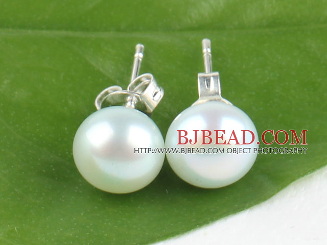 8-8.5 mm white with green cultured fresh water pearl studs