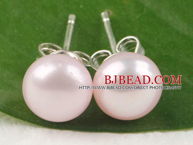 post earring 8-8.5mm pink pearl studs