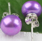 8-8.5 mm dyed purple pearl studs