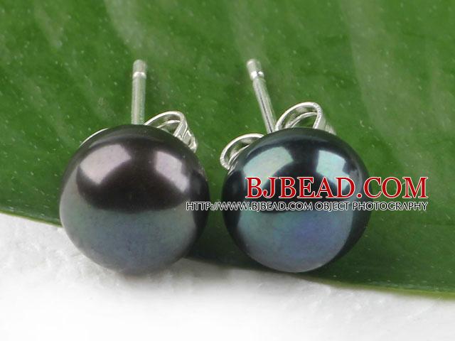 hot 8-8.5 mm black pearl studs