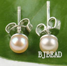 4-4.5mm cultured natural pink fresh water pearl studs