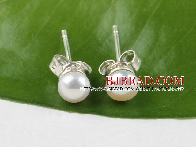 4-4.5mm natural white fresh water pearl studs