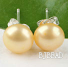 8-8.5 mm yellow fresh water pearl studs