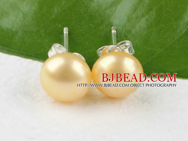 8-8.5 mm yellow fresh water pearl studs
