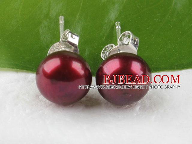 7-8mm purple pearl studs