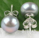 8-8.5 mm grey pearl studs post style