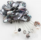 admirably black pearl and shell flower brooch