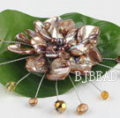 wedding jewelry admirably brown pearl and shell flower brooch