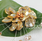 wonderful brown pearl and shell flower brooch