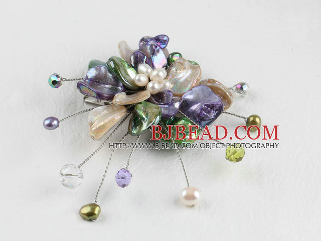 wedding jewelry admirably colorful pearl and shell flower brooch