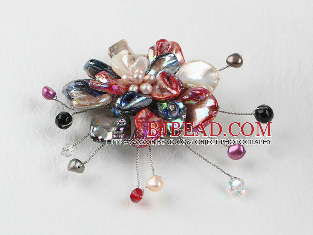 wedding jewelry admirably inches colorful pearl and shell flower brooch