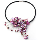beautiful 17.7 inches purple pearl and shell flower necklace