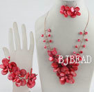 bridal jewelry red pearl and shell necklace bracelet and earrings set under $ 40