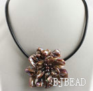 17.7 inches brown shell flower pearl necklace