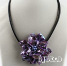 17.7 inches purple shell flower pearl necklace with magnetic clasp under $ 40