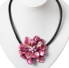 17.7 inches pink shell flower pearl necklace with magnetic clasp