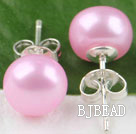 8-8.5 mm dyed pink cultured fresh water pearl studs