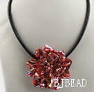 17.7 inches red shell flower pearl necklace with magnetic clasp under $ 40