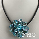 17.7 inches blue shell flower pearl necklace with magnetic clasp