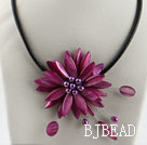 17.7 inches purple red shell flower pearl necklace with magnetic clasp under $ 40