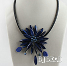 17.7 inches gem blue shell flower pearl necklace with magnetic clasp