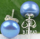 sellable 8-8.5 mm dyed blue fresh water pearl studs under $ 40