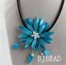 17.7 inches sky blue shell flower pearl necklace with magnetic clasp under $ 40