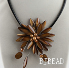 17.7 inches brown shell flower pearl necklace with magnetic clasp under $ 40