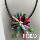 17.7 inches multi color shell flower pearl necklace with magnetic clasp