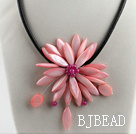 17.7 inches light pink shell flower necklace with magnetic clasp