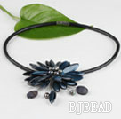 17.7 inches black shell flower pearl necklace with magnetic clasp under $ 40