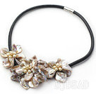 natural yellow pearl and dyed gray shell flower necklace with magnetic clasp