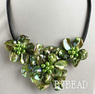 pearl and dyed green shell flower necklace with magnetic clasp