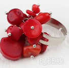 Classic Design Assorted Red Coral Adjustable Ring under $ 40