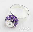 Fashion Style Purple European Bead  with Rhinestone Adjustable Shambala Ring