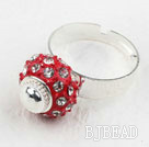 Fashion Style Red European Bead with Rhinestone Adjustable Shambala Ring