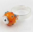 Fashion Style Orange European Bead with Rhinestone Adjustable Ring