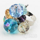 Assorted Multi Color Crystal Adjustable Ring