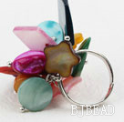 Assorted Multi Color Shell Adjustable Ring