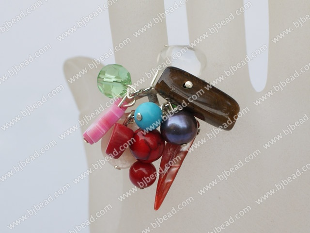 colorful stone crystal and shell ring