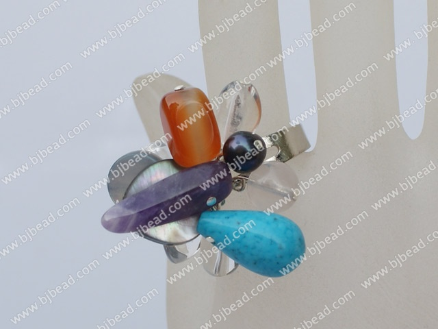 multi color stone and crystal ring