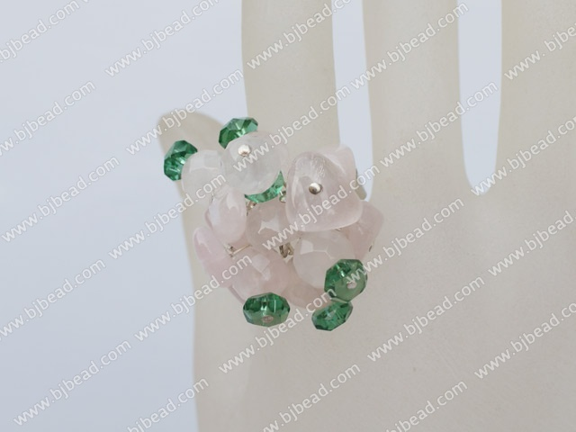 crystal and rose quartze ring