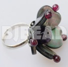 garnet amethyst black lip shell ring